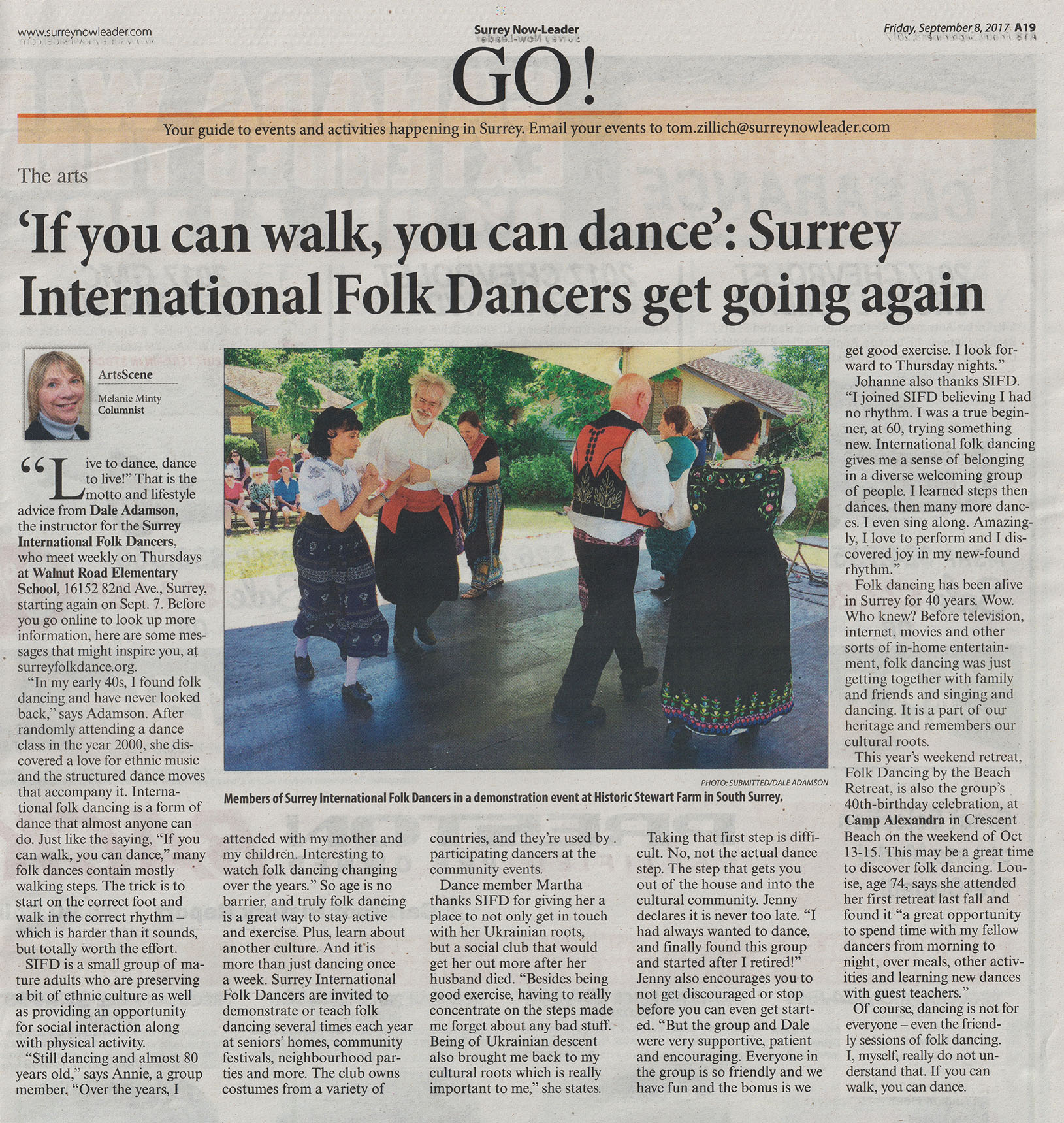 ArtsScene Column by Melanie Minty in Surrey Now-Leader 2017-09-08