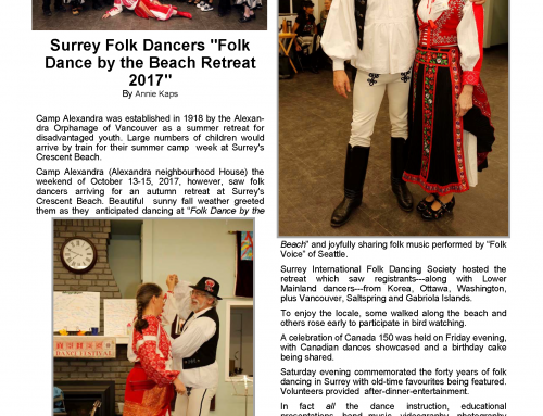 Beach Retreat 2017 article in Northwest Folkdancer